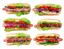 Six hotdogs Stock Photography