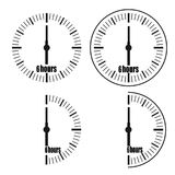 Six Hours Clock on white background. Six o`clock. Four options vector illustration