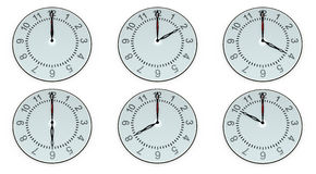 Six hours with different points of time Royalty Free Stock Photography