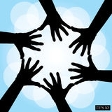 Six human cooperative hands Royalty Free Stock Image