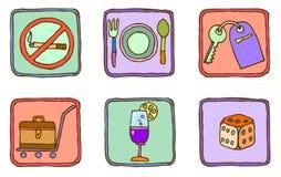 Six icônes tirées par la main illustration de vecteur