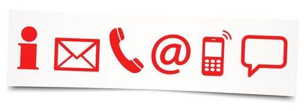 six icônes de contactez-nous sur la note collante Photo libre de droits