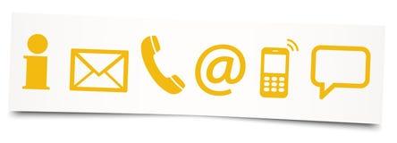 six icônes de contactez-nous sur la note collante Image libre de droits
