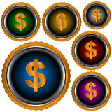 Six icons dollar Stock Photography