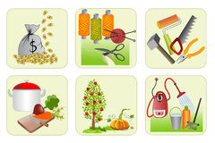Six icons for home economics Royalty Free Stock Photography