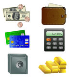 Six icons of money Stock Image