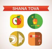 Six icons for Rosh Hashana, Jewish holiday. Stock Photos