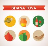 Six icons for Rosh Hashana, Jewish holiday. Royalty Free Stock Photography