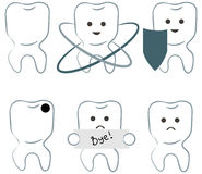 Six icons of teeth Stock Image