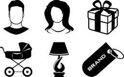 Six icons for web shop. Illustration royalty free illustration