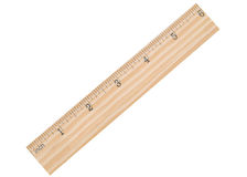 A six inch ruler. A 6 inch school ruler isolated white Royalty Free Stock Photos