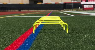 Six inch yellow banana step hurdles on a turf field royalty free stock image