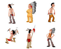 Six indians set. Vector illustration of a six indians set Royalty Free Stock Images