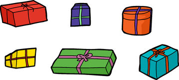 Six Isolated Gift Boxes Royalty Free Stock Photo