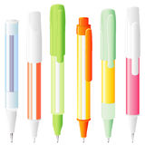 Six isolated pens Royalty Free Stock Photography