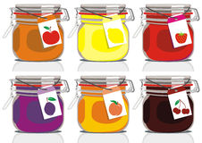 Six jam jars. Vector illustration of six jam jars Royalty Free Stock Photography