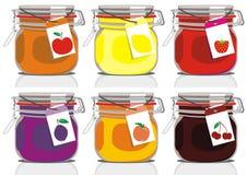 Six jam jars Royalty Free Stock Photography