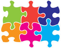Six jigsaw pieces. Six colored individual jigsaw piece shapes Stock Photos