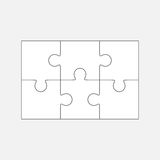 Six  jigsaw puzzle parts, blank  2x3 pieces. Isolated Royalty Free Stock Photography