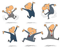 Six jumping businessmen Stock Image