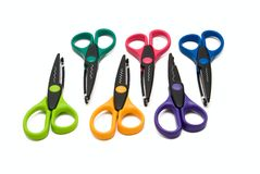 Six kind of safety scissors Stock Image
