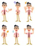 Six kinds of gestures and facial expressions of a man vector illustration