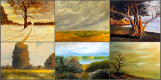 Six Landscape Paintings. Beautiful Image of 6 original Landscape Paintings Royalty Free Stock Image