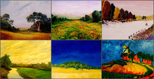 Six landscape paintings Royalty Free Stock Image