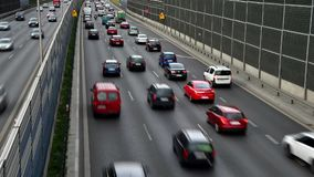 Six lane controlled-access highway in Poland.  stock footage