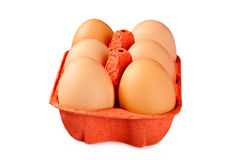 Six large organic eggs in a box Royalty Free Stock Photography