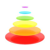 Six layer cone pyramid isolated Stock Image