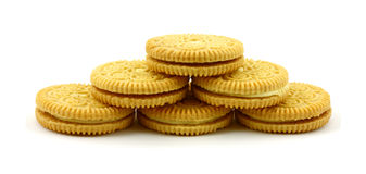 Six lemon filled cookies Stock Image