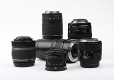 Six lenses isolated on the white setting Stock Image