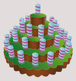 Six level huge birthday party cake  Stock Image