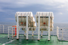 Life-saver barrels on ferry Stock Photography