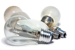 Six lightbulbs. Six light bulbs of different types and sizes on a white background Stock Image