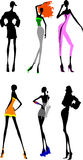 Six longues filles de pattes. illustration libre de droits