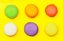 Six macarons, sweet meringue-based confection Stock Images