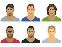 Six male faces Royalty Free Stock Image