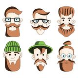 Six male hipsters head on white royalty free illustration