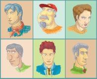 Six man heads. (cartoon characters Royalty Free Stock Photos