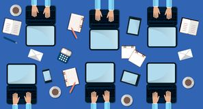Six Man Work on Laptop. Top View. Work Process Concept with laptop, smartphone and cup of cofee. Flat Illustration Stock Photos