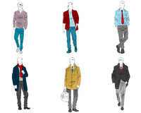 Six mannequin with casual outfit Stock Image