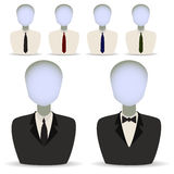 Six mannequins. Vector illustration in the form of six manikenov in suits Stock Images