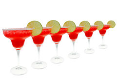 Six margaritas in a row Royalty Free Stock Image