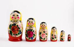 Six matryoshka dolls Royalty Free Stock Photos