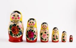 Six matryoshka dolls. On a white background Royalty Free Stock Photos