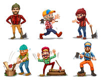Six men with axes stock illustration