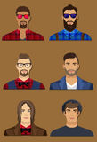 Six men character avatars. Collection of isolated men character avatars vector Royalty Free Stock Image