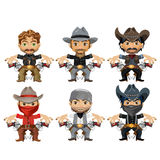 Six men characters in cartoon wild West style Stock Photography